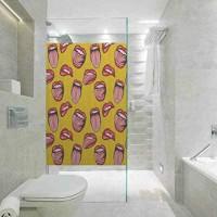 Selbstklebende Sichtschutzfolie gelbe Dekoration schöne rote Lippen Zähne und Zange für Wohnzimmer Schlafzimmer Küche Lobby Veranda Büro 60 cm B x 120 cm L