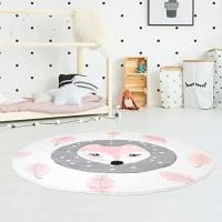 Kinderteppich Hochwertig Konturenschnitt Glanzgarn mit Fuchs und Blättern in Rosa Creme für Kinderzimmer Größe 160/160 cm Rund