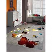 Kinderteppich Spielteppich Kinderzimmer Teppich Schmetterling Design mit Konturenschnitt Braun Beige Rot Orange Gelb Creme Schwarz Türkis Grün Größe 160x230 cm