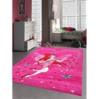 Kinderteppich Spielteppich Kinderzimmer Teppich Zauberfee mit Schmetterlinge Pink Creme Rot Türkis Größe 200 x 290 cm