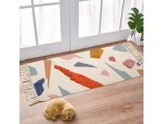 LIVEBOX Baumwollteppich handgewebt getuftet Quaste Überwurf Teppich 60 x 120 cm abstrakt bunt Fußmatte für Veranda Badezimmer Wohnzimmer Waschküche Kinderzimmer Schlafzimmer
