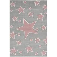 LIVONE Happy Rugs for Kids Hochwertiger Kinderteppich Kinderzimmer Babyteppich mit Sternen und Punkten in Silber grau rosa Grösse 100 x 160 cm