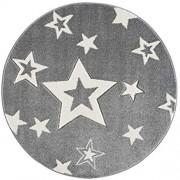 Livone Pflegeleichter Kinderteppich Baby Kinderzimmer mit Sternen in Silber Grau Weiss Grösse 150 cm rund
