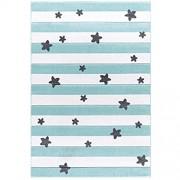 Livone Pflegeleichter Kinderteppich Baby Teppich Kinderzimmer Streifen und Sterne in Mint Weiss Silber grau 120 x 180 cm