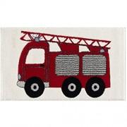 Livone Spielteppich Moderner Teppich Kinderzimmer Kinderteppich Feuerwehrauto in rot Silber grau schwarz Weiss Grösse 120 x 180 cm