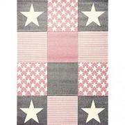 Livone Spielteppich Moderner Teppich mit Konturenschnitt Kinderzimmer Kinderteppich mit Sternen in Weiss Silber grau rosa Größe 120 x 170 cm