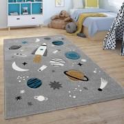Paco Home Kinder-Teppich Spiel-Teppich Für Kinderzimmer Weltall Rakete Planeten Grau Grösse:120x170 cm