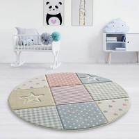 Taracarpet Kinderzimmer und Jugendzimmer Teppich Dreamland Kinderzimmerteppich Sterne kariert Pastell bunt 150 cm rund