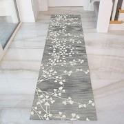 GJIF Läufer Teppich Flur rutschfest Modern Grau Korridor Teppich Für Küche Wohnzimmer Schlafzimmer Breite 60cm / 80cm/ 90cm/ 100cm/ 120cmSize:60x400cm