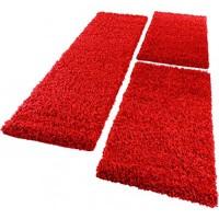 Paco Home Bettumrandung Läufer Shaggy Hochflor Langflor Teppich in Rot Läuferset 3Tlg Grösse:2mal 60x100 1mal 70x250