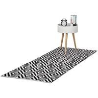 Relaxdays Teppich Baumwolle Läufer rutschfest Teppichläufer Flur gewebt Wohnzimmerteppich 80x200 cm schwarz weiß