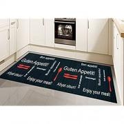 Traum Küchenläufer Küchenteppich waschbar mit Schriftzug Guten Appetit in Schwarz Rot Größe 80 x 300 cm