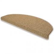 casa pura Stufenmatten Budget | Treppenteppich in beige braun | gestreifter Flor | 15er Sparset