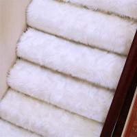 Insun Stufenmatten Faux Lammfell Schaffell Anti Rutsch Abwaschbarer Treppenstufen Matten Teppich Flauschig Weiche Nachahmung Wolle Treppenmatten Treppenschutz Weiß 65x24cm 1 Stück