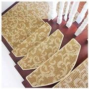 LTDT Stufenmatte im Vintage-Muster selbstklebend rutschfest schmutzfrei einfacher Treppenteppich 65 x 24 cm enthält keine Plattform-Pads Beige 3 Stück