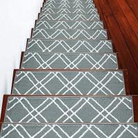 Stufenmatten aus der Vintage-Kollektion modern gemütlich lebendig und weich Türkis und Weiß 22 9 x 71 1 cm 13 Stück [100% Polypropylen] inklusive Klebeband