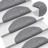 UnfadeMemory 15-TLG Selbstklebende Treppenmatten Nadelvlies Stufenmatten rutschfest Warm Treppen-Teppich Allzweck-Matte für Stufen Sichere Treppenstufen Hellgrau 65x21x4cm