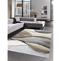 CARPETIA Designer Teppich Moderner Teppich Wohnzimmerteppich Kurzflor braun grau beige Größe 160x230 cm