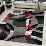 Carpeto Rugs Teppich Wohnzimmer Kurzflor Grau Modern Geometrisch Muster Öko-Tex 180 x 250 cm
