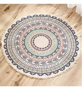 Lanqinglv Runder Teppich 150cm Böhmisch Handgemachte Weben Teppiche Baumwolle Leinen Indien Mandala Muster Bunt Rund Teppich mit Quaste für Schlafzimmer Wohnzimmer Hausdekor