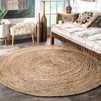nuLOOM Rigo Handgewebter Teppich aus Jute 180cm rund Natur