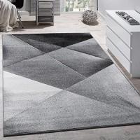 Paco Home Designer Teppich Modern Geometrische Muster Kurzflor Grau Schwarz Weiß Meliert Grösse:160x220 cm
