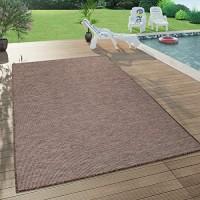 Paco Home In- & Outdoor-Teppich Für Wohnzimmer Balkon Terrasse Flachgewebe In Braun Grösse:140x200 cm