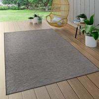 Paco Home In- & Outdoor-Teppich Für Wohnzimmer Balkon Terrasse Flachgewebe In Grau Grösse:160x220 cm