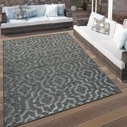 Paco Home In- & Outdoor Terrassen Teppich Ethno Muster Bordüre Wetterfest Modern In Grau Grösse:160x230 cm