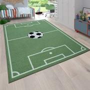 Paco Home Kinder-Teppich Spiel-Teppich Für Kinderzimmer Mit Fußball-Motiv In Grün Grösse:140x200 cm