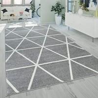 Paco Home Wohnzimmer Teppich Moderne Pastell Farben Skandinavischer Stil Rauten Muster Grösse:160x220 cm Farbe:Grau