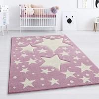 Taracarpet Kinderzimmer und Jugendzimmer Teppich Dreamland Kinderzimmerteppich Sterne Pastell lila Creme 140x200 cm