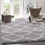 VIMODA Hochflor Teppich Maschen Design Marokkanisch Muster Grau Creme Maße:140x200 cm