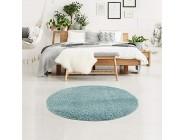 carpet city Teppich Wohnzimmer - Shaggy Hochflor Blau - 80x80 cm Rund Einfarbig - Moderne Teppiche