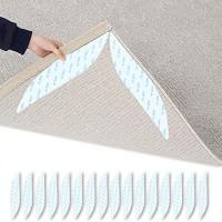 DOXILA Teppich-Greifer in Blattform für Teppiche rutschfest rutschfest wiederverwendbar für Hartholzböden Fliesen Teppiche Polyurethan 16 Stück weiß