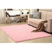 Shaggy Teppich für Wohnzimmer Zuhause Plüsch Boden Alfombra flauschige Matten Kinderzimmer Kunstfell Bereich Teppich Wohnzimmer Seidige Teppiche Farbe: Rosa Größe: 140 x 200 cm
