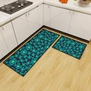 Yumhouse Küchenbodenmatte Dünner Küchenbereich Teppich Anti-Ermüdungs-Küchenmatte saugfähige rutschfeste Matte-F_40 * 60 + 40 * 120 cm rutschfeste wasserdichte Komfort-Stehmatte