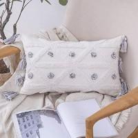MIULEE 1 Stück Dekorative Boho Kissenbezug Baumwolle Dekokissen Super Weich Kissenbezüge Quaste Decor Kissenhülle für Sofa Couch Schlafzimmer Wohnzimmer 30x50 cm