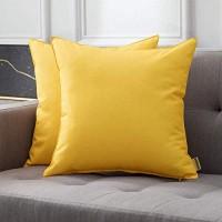 MIULEE Packung von 2 wasserdichte Sofa Kissenbezug Kissenhülle im freien Set Kissen Fall für Sofa Schlafzimmer 18x18 inch 45x45 cm Gelb