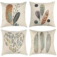 Tbing Kissenbezüge aus Leinen dekorative Überwürfe für Sofa Schlafzimmer 4 Stück 45 7 x 45 7 cm Feder