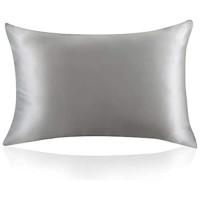 ZIMASILK Kissenbezug aus 100% Seide für Haare und Haut. Doppelseitige 19 Momme Reine Maulbeerseide Kissenhülle mit Reißverschluss 1 Stück.40x80 cm Silber-Grau