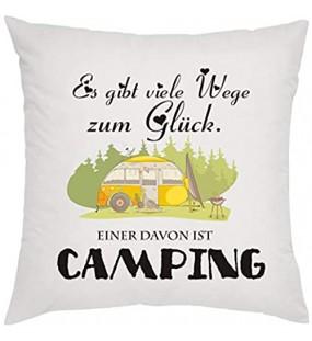Crealuxe Es gibt viele Wege zum Glück Einer ist Camping r Zierkissen Sofakissen bedrucktes Kissen Bauwollkissen