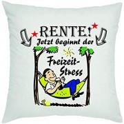 Crealuxe Rente - jetzt beginnt der Freizeitstress Zierkissen Sofakissen bedrucktes Kissen Bauwollkissen