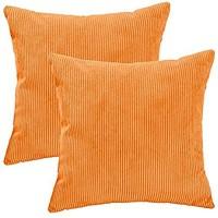 DOTTOD 2er Set Kordsamt Zierkissen mit Füllung Supersoft Corduroy Striped Beide Seiten Dekokissen 45 x 45 cm Orange