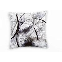 Paul Sinus Art Abstrakt schwarz weiß Kreis gesprenkelt gemalt Deko Kissen 40x40cm für Couch Sofa Lounge Zierkissen - Dekoration zum Wohlfühlen