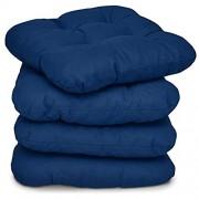 Beautissu 4er Set Stuhlkissen 40x40 cm Lisa – Bequemes 8cm Kissen für Stuhl & Bank – Gepolstertes Sitzkissen Stuhl für Ihre Esszimmer Stühle und Bänke – Sitzpolster in Dunkel-Blau