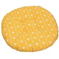 xiahe Gelb Rund Gemütliches Sitzkissen Rund Aus Hell - Waschbare Stuhlkissen für Schalenstuhl - Komfortable Sitzauflage für Bank I Stuhl Stuhlkissen mit Bänder Kissen rund für Stühle