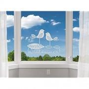 GRAZDesign Fenstertattoo Herzlich Willkommen Fensterfolie für Flur Eingang lichtdurchlässig Fensterbild / 68x50cm