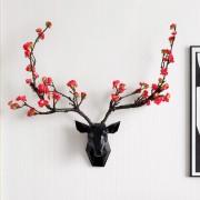 3d Deer Hören Mit Blume Horn Wand Décor Moderne Tier Hören Wohnzimmer Haus Dekorationen Abstrakte Skulptur wand Statue Geschenk Statuen & Skulpturen