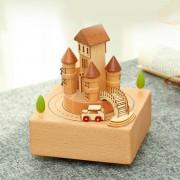 Retro Holz Rotierenden Musik Box Weihnachten Thema Zug Castle Traum Rotierenden Musik Boxen Decor Handwerk Geburtstag Geschenk Musikboxen